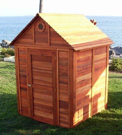 Storage Mini Barn (Options: 6' W, 6' D, 7' H, Redwood, Transparent Premium Sealant).