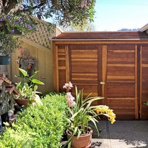 Storage Shed (Options: 7' W, 4.5' D, 7' H, Redwood, Double Doors, No Shelving, With Deck, Transparent Premium Sealant). Photo Courtesy of I. Speiser of Carmel, CA
