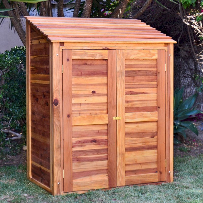 """Storage Shed (Options: 4.5' W, 3' D, 6' H, Redwood, Double Doors, One Shelf, 48"""", Transparent Premium Sealant). Shelf to 1/2 width of shed by custom request."""