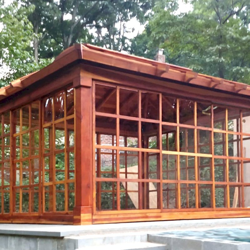 Sun Gazebo (Options: 12' L, 12' W, California Redwood, 7 ft Wall Height, 4' x 8' Skylight, Standard Wood Roof, Hardware Kit for Stone, Brick or Concrete, Complete Floor, Transparent Premium Sealant). Photo Courtesy of A. King of Richmond, Virginia.
