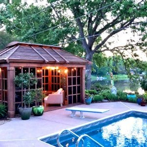 Sun Gazebo (Options: 14' L, 10' W, Douglas-fir, 4' x 8' Skylight, Standard Wood Roof, Hardware Kit for Stone, Brick or Concrete, No Floor,  Coffee-Stain Premium Sealant). Photo Courtesy of D. Womack of White Bear Lake, Minnesota.