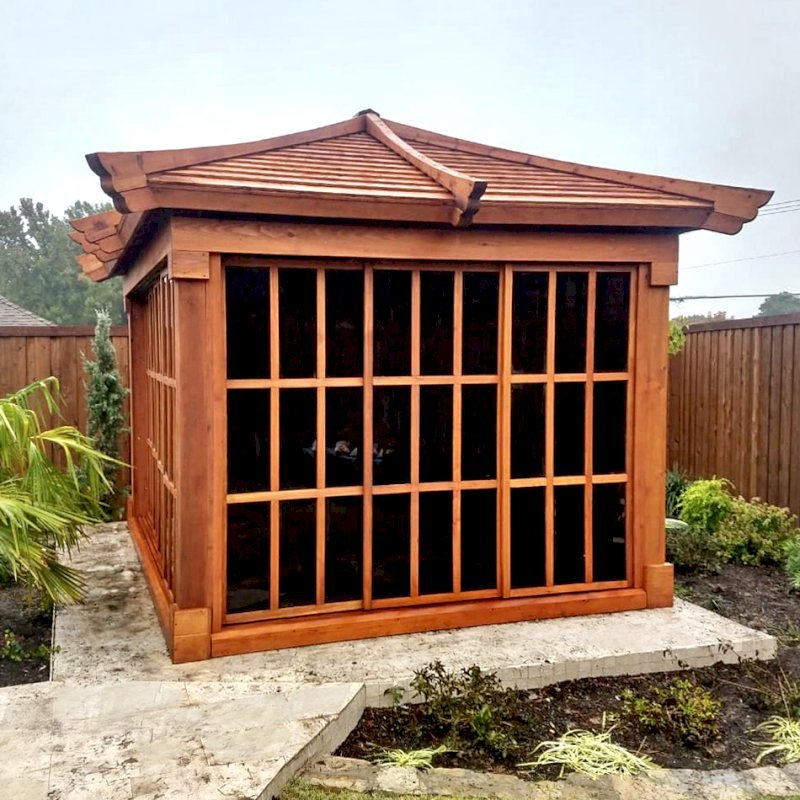 Sun GazeboSun Gazebo (Options: 12' L, 10' W, Mature Redwood, 7 ft Wall Height, Without Skylight, Standard Wood Roof, Hardware Kit for Stone, Brick or Concrete, Complete Floor, Transparent Premium Sealant). Photo Courtesy of J. Davidson of Plano, Texas.