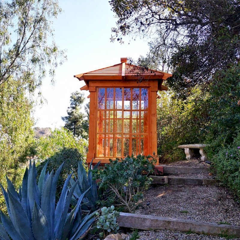 Sun Gazebo (Options: Custom Size 6' L x 6' W, Douglas-fir, 7 ft Wall Height, Without Skylight, Complete Floor, Transparent Premium Sealant). Photo Courtesy of T. Standing of Hollywood, CA.