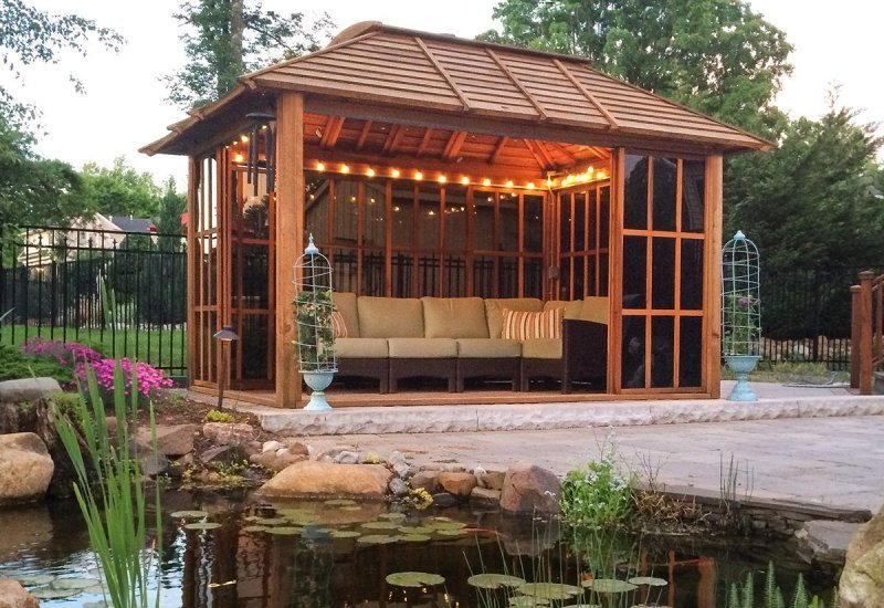 Sun Gazebo (Options: 14' L, 10' W, California Redwood, 4' x 6' Skylight, No Flooring, Transparent Premium Sealant). Photo Courtesy of Doug, Carrie & Zoe Jones of N. Caldwell, NJ.