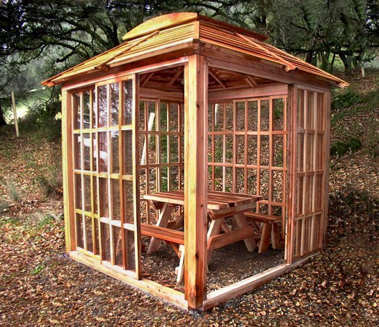 Sun Gazebo (Options: 8' L, 8' W, California Redwood, 4' x 4' Skylight, No Flooring, Unfinished). Also Shown Inside the Gazebo is a 4.5' Forever Picnic Table with Unattached Benches.