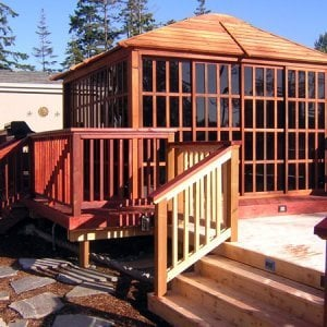 Sun Gazebo (Options: 12' L, 12' W, Redwood, Without Skylight, No Flooring, Transparent Premium Sealant).
