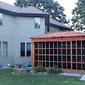 Sun Gazebo (Options: 10' L, 14' W, California Redwood, Without Skylight, No Floor, Transparent Premium Sealant). Photo Courtesy of R. Hayko of Andover, MN.