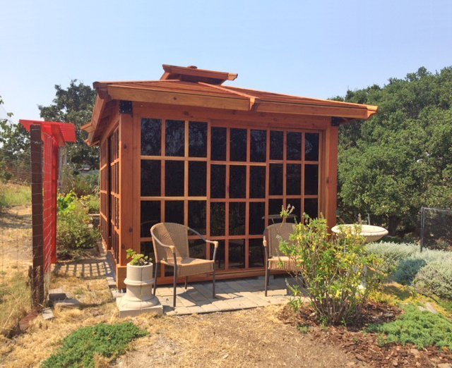 Sun Gazebo (Options: 16' L, 10' W, California Redwood, No Skylight, No Flooring, Transparent Premium Sealant). Photo Courtesy of M. Tonti of Salinas, CA.