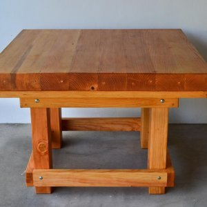 Super Heavy Duty Workshop Table (Options: 4' x 4', Douglas-Fir, Transparent Premium Sealant).