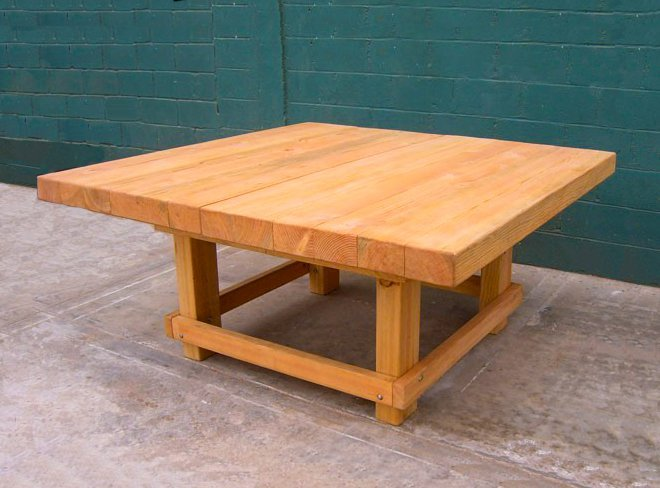 Super Heavy Duty Workshop Table (Options: 6' x 6', Douglas-fir, Transparent Premium Sealant).