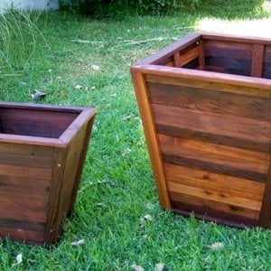 "Tapered Planters (Options: 12"" Square Base x 18"" Square Top x 16.5""H and 18"" Square Base x 24"" Square Top x 26""H)."