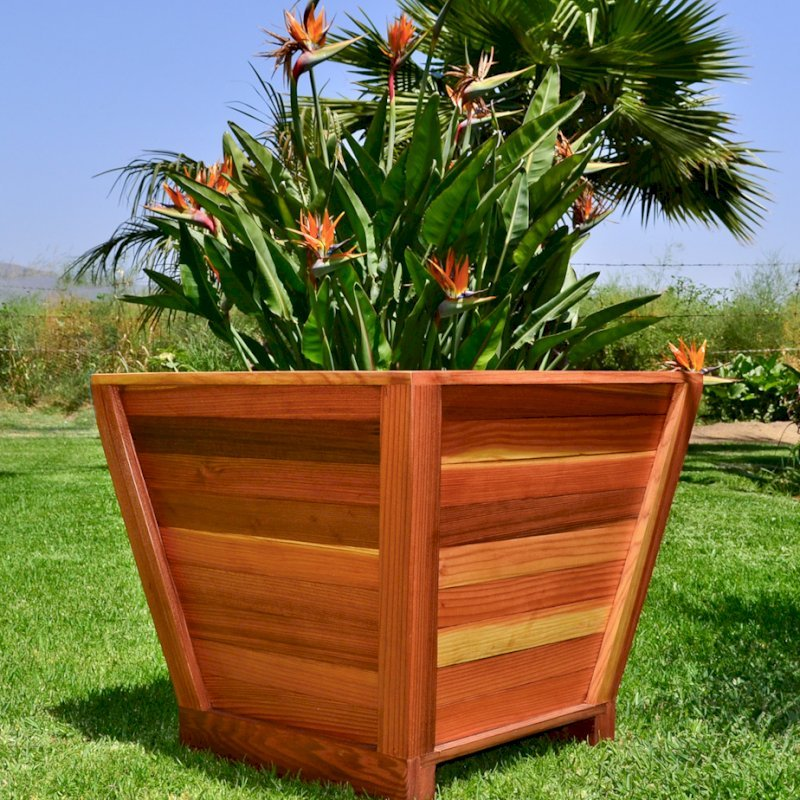 "Tapered Planter (Options: 15"" Square Base x 21"" Square Top x 18""H, Redwood, 3/4-inch feet, Seal interior and exterior of box, Transparent Premium Sealant).today"