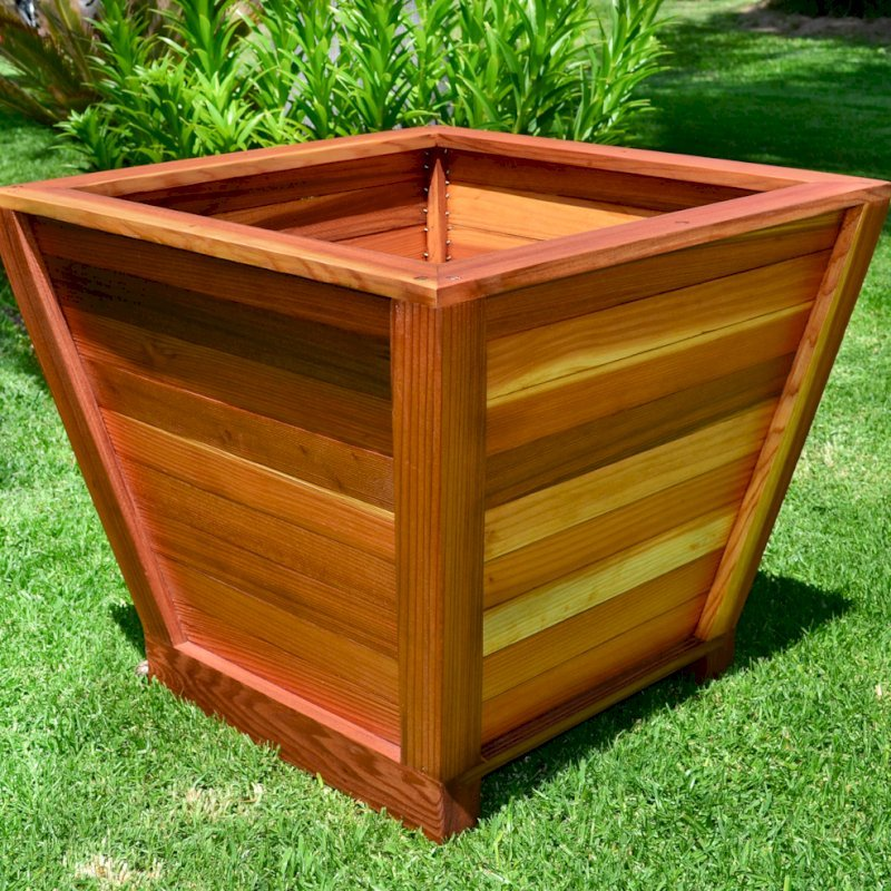 "Tapered Planter (Options: 15"" Square Base x 21"" Square Top x 18""H, Redwood, 3/4-inch feet, Seal interior and exterior of box, Transparent Premium Sealant)."