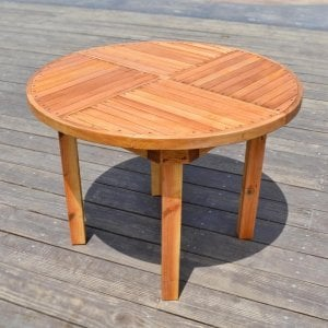 Round Terrace Table (Options: 3.5 ft, No Seating, Douglas-Fir, Standard Tabletop, No Umbrella Hole, Transparent Premium Sealant).