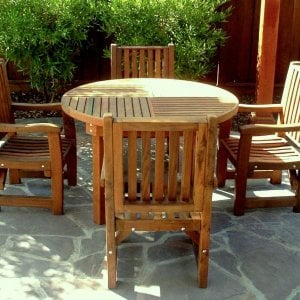 Round Terrace Table (Options: 4' Diameter, 4 Chairs, Mature Redwood, Ruth Chairs, All Armchairs, No Cushions,  No Umbrella Hole, Transparent Premium Sealant).