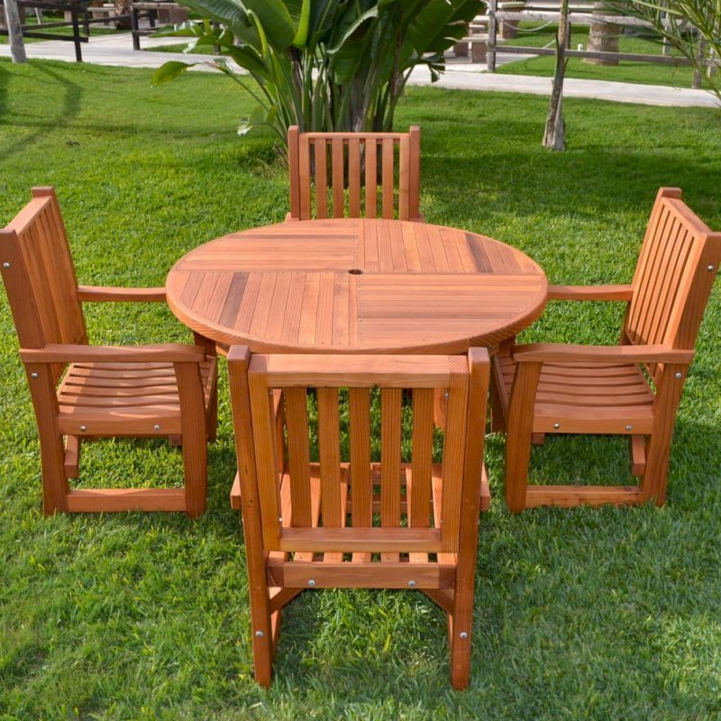 Round Terrace Dining Table (Options: 4',4 chairs, Mature Redwood, Ruth, All Arm Chairs, No Cushion, Standard Tabletop, Umbrella Hole, Transparent Premium Sealant).