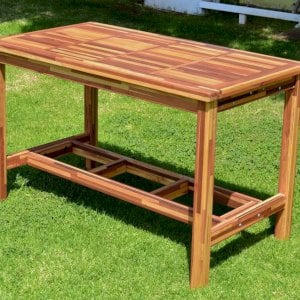 "Terrace Cocktail Table (Options: Rectangular, No Seating, Mosaic Eco-Wood, 42"" H, Slatted Tabletop, Squared Corners, Transparent Premium Sealant)."