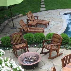 """Terrace Side Table between Loungers in background (Options: 21 1/2"""" Size, Mature Redwood, 18"""" H, Transparent Premium Sealant). Photo Courtesy of Susan Salmon of Collingswood, NJ."""