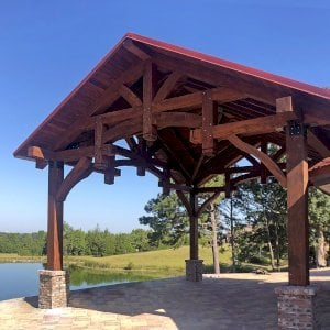 Custom Cardinals Nest Pavilion (Options: 28' L x 26' W, Douglas-fir, No Ceiling Fan Bases, 4-Post Anchor Kit for Hurricane Wind, Coffee-Stain Premium Sealant). Photo Courtesy of T. Wilsford of Montgomery, Alabama.