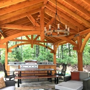 Custom Cardinals Nest Pavilion (Options: 30' L x 18' W, Douglas-fir, 2 Ceiling Fan Bases, 8-Post Anchor Kit for Gale-Wind, Transparent Premium Sealant). Photo Courtesy of B. Lapidus of Boone, North Carolina.