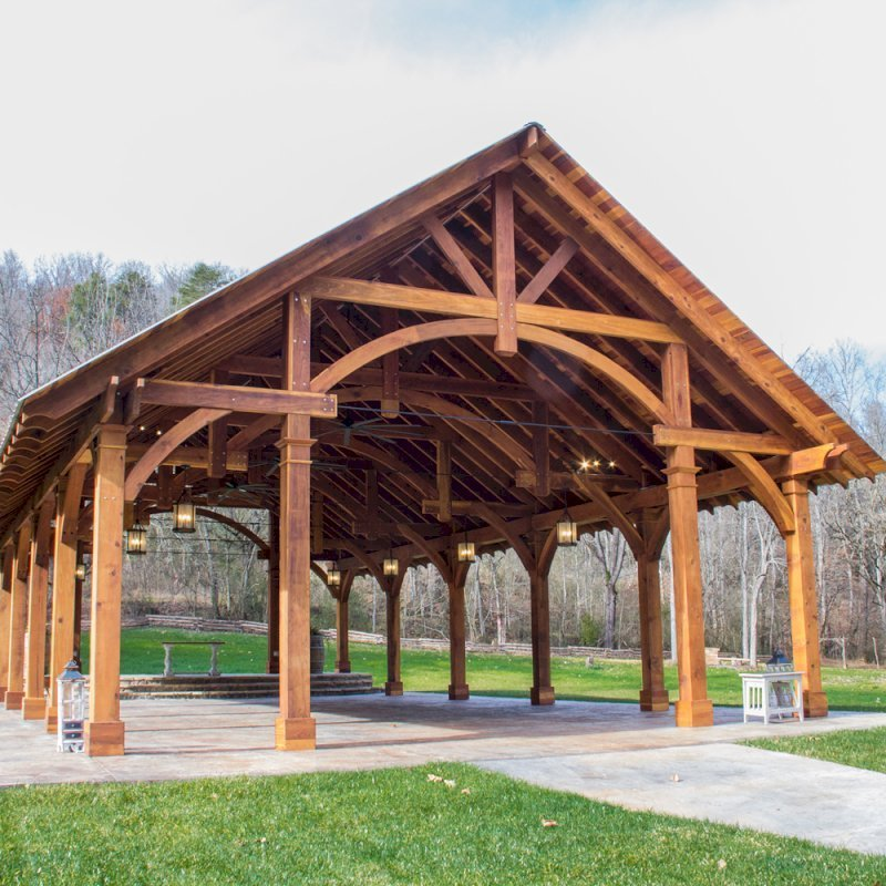 """The Cardinals Nest Pavilions (Options: 60' L x 34' W, California Redwood, 16-Post Anchor Kit for Hurricane Anchors will be at least 24"""" x 24"""" x 36"""", Electrical Wiring Trim Kit for 6 Posts, and 6 Cutouts for Outlets, 2 Ceiling Fan Bases and at least 4 cutouts for Electrical Boxes, Transparent Premium Sealant), Photo Courtesy of S. Hilton of Sevierville, TN."""