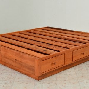 The Chest Bed (Options: King Size, Old-Growth Redwood, No Headboard, 2 Set of Drawers, One on Each Side, Transparent Premium Sealant).