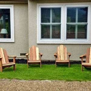 The Classic Adirondack Chairs (Options: California Redwood, No Cushion, No Ottoman, Transparent Premium Sealant). Photo Courtesy of M. Butler of Napa, CA.