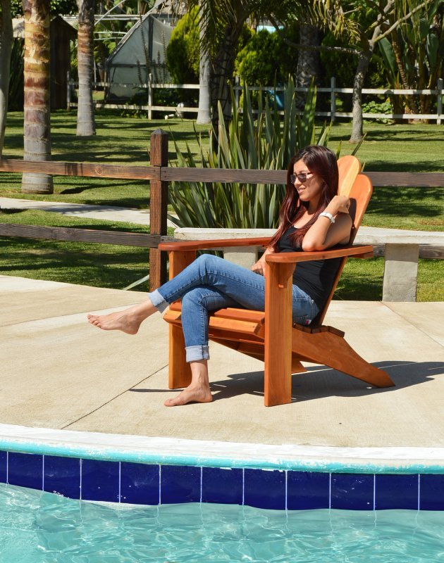The Classic Adirondack Chair (Options: California Redwood, No Cushion, No Ottoman, Transparent Premium Sealant).