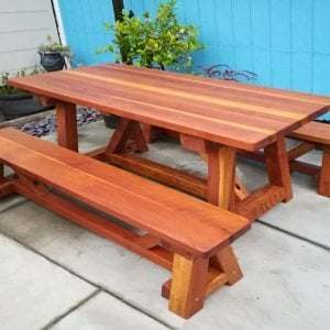 "The Classic Redwood Patio Table (Options: 6' L x 34 1/2"" W, Redwood, Side Benches, 1 Full Length Bench Per Side, Standard Tabletop, Rounded Corners, No Umbrella Hole, Transparent Premium Sealant). Photo Courtesy of J. Travesi of San Francisco, CA."