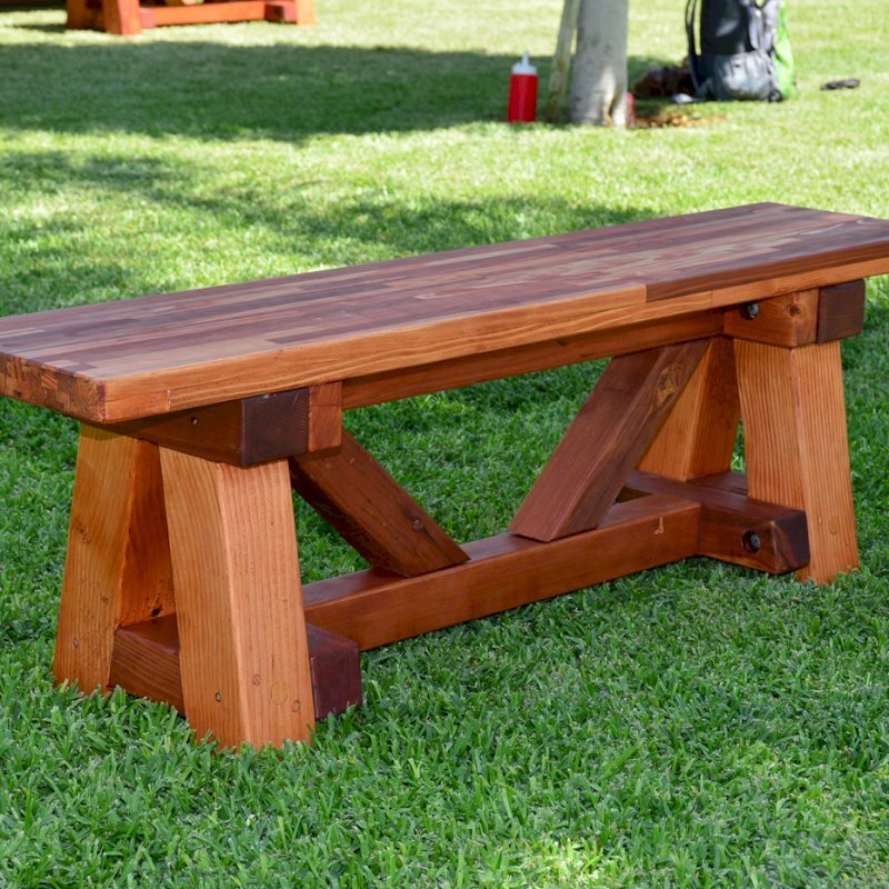 Bench for The Classic Redwood Patio Table (Options: Mosaic Eco-Wood, Transparent Premium Sealant).