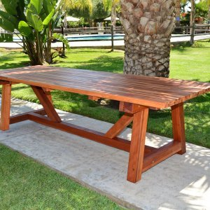 The Classic Redwood Patio Table (Options: Mosaic Eco-Wood, No Seating, Transparent Premium Sealant).