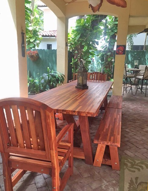 The Classic Redwood Patio Table (Options: Mosaic Eco-Wood, Benches & End Armchairs, Luna Chairs, 2 Half Length Benches Per Side, Seamless Tabletop, Slightly Rounded Corners, No Umbrella Hole, Transparent Premium Sealant).