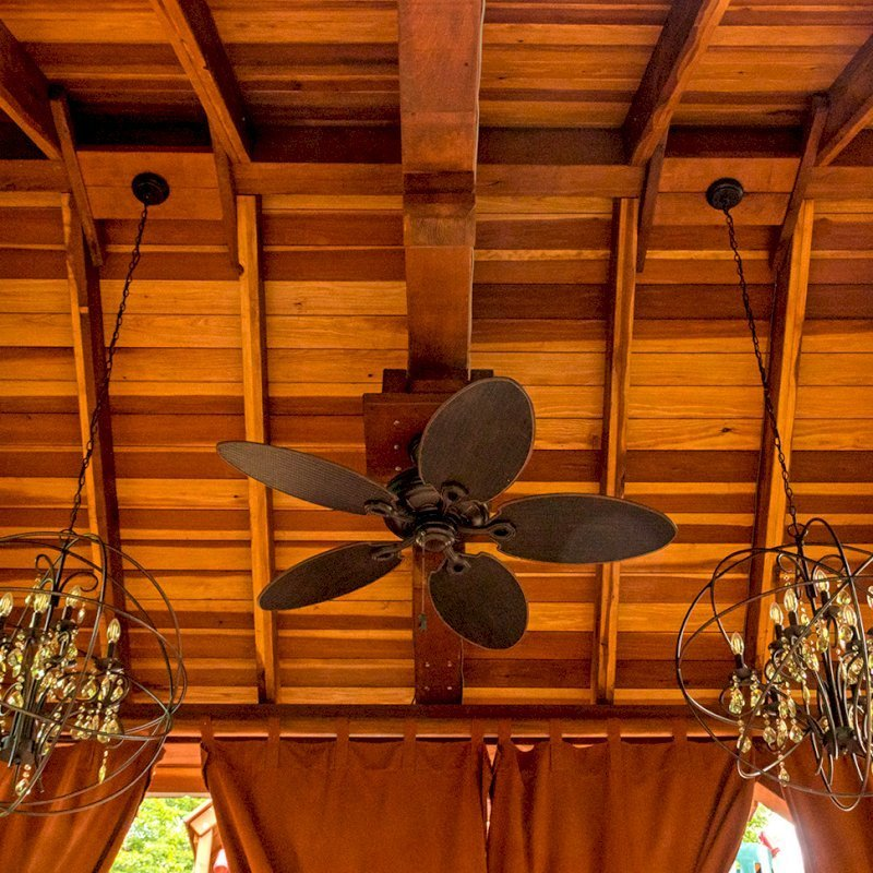 The Granada Pavilion (Options: 18' L x 15' W, California Redwood with a 15-year warranty, 4-post Anchor Kit for Gale-Wind, Electrical Wiring Trim for 1 Post, 3 Ceiling Fan Bases, 4 Curtain Rods, Transparent Premium Sealant). Photo Courtesy of J. Rynerson of Franklin, Tennessee.