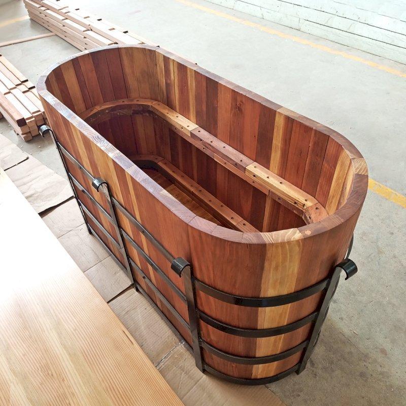The Custom Half Barrel Planter (Options: California Redwood, No Growing Vegetables, Transparent Premium Sealant).