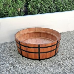 "The Half Barrel Planter (Options: Custom Size - 48"" D x 18"" H, 2 Bands, Mature Redwood, No Interior Sealant, No Carrying Hooks on the Sides by Custom Request, Transparent Premium Sealant). Photo Courtesy of R. Newman of Los Angeles, California."