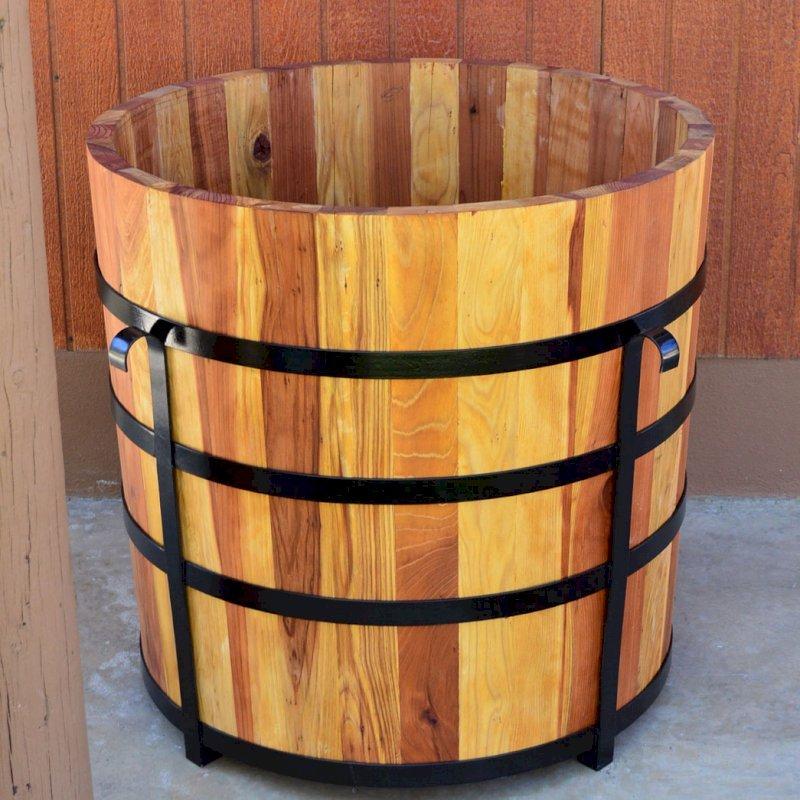 The Half Barrel Planter (Options: California Redwood, No Growing Vegetables, Transparent Premium Sealant).