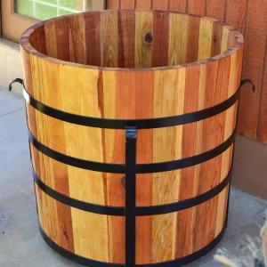The Half Barrel Planter (Options: Redwood, No Growing Vegetables, Transparent Premium Sealant).