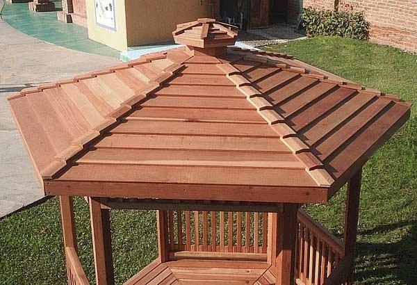 Aerial View: The Hexagonal Retreat Pavilion (Options: 8' Diameter, Deck, Mature Redwood, With Upper and Lower Panels, Transparent Premium Sealant).