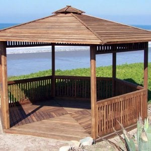 The Hexagonal Retreat Pavilion (Options: 14' Diameter, Add a Deck, Mature Redwood, With Upper and Lower Panels, Transparent Premium Sealant).