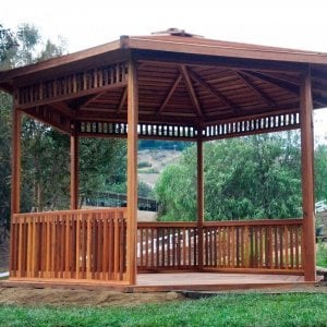 The Hexagonal Retreat Pavilion (Options: 14' Diameter, Add a Deck, Redwood, With Upper and Lower Panels, Transparent Premium Sealant).