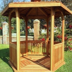 The Hexagonal Retreat Pavilion (Options: 8' Diameter, Add a Deck, Redwood, With Upper Corvels and Lower Panels, Transparent Premium Sealant).