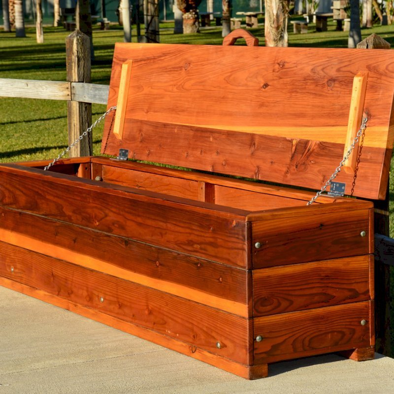 "The Laurel Storage Bench (Options: 48"" L x 20"" W x 20"" H, Redwood, No Piston, Standard Seat, with Feet, Transparent Premium Sealant)."