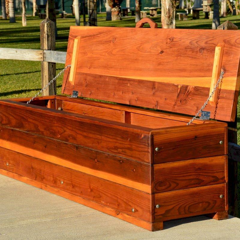 "The Laurel Storage Bench (Options: 48"" L x 20"" W x 20"" H, Redwood, No Piston, Standard Seat, with Feet, Transparent Premium Sealant)."