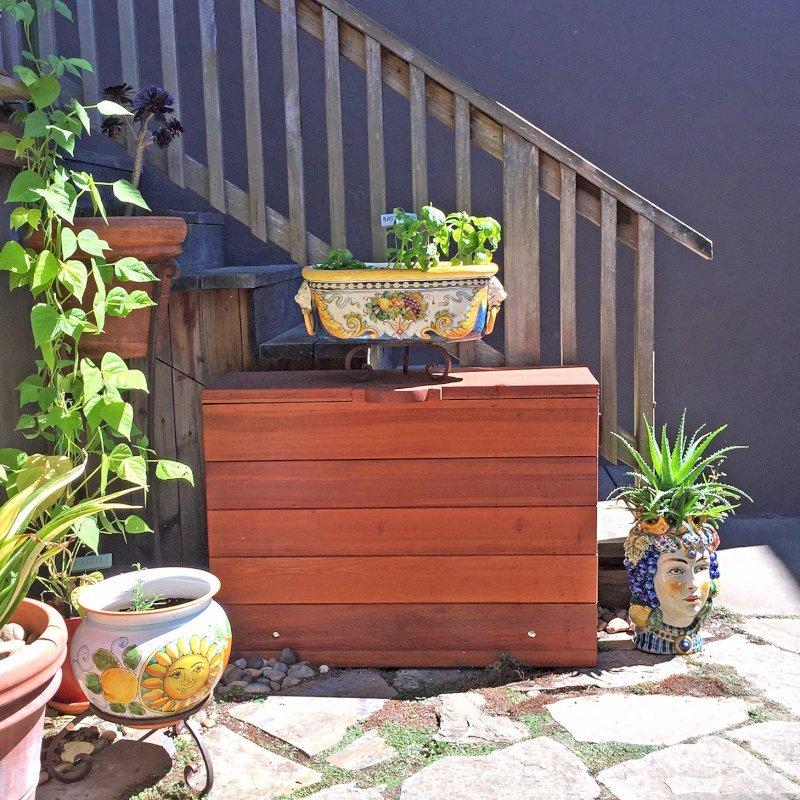 "The Laurel Storage Bench (Options: 42"" L x 12 1/2"" W x 30"" H, Old-Growth Redwood, No Piston, Standard Seat, with Feet, Transparent Premium Sealant). Photo Courtesy of J. Siino of Kirkland, WA."
