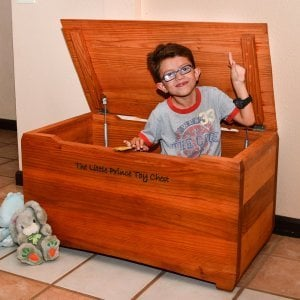 The Little Prince Toy Chest (Options: Mature Redwood, Custom Engraving, Transparent Premium Sealant).