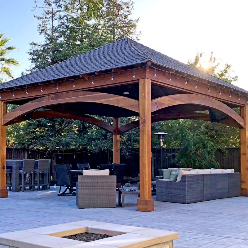 The Loreto Pavilion (Options: 20ft L x 20ft W, No Privacy Panels, California Redwood, 10ft H, Electrical Wiring for 2 Posts, 4-Post Anchor Kit for Gale Wind, No Post Decorative Trim, 1 Ceiling Fan Base, No Curtain Rods, Transparent Premium Sealant). Photo Courtesy of G. Arruda of Livermore, California.