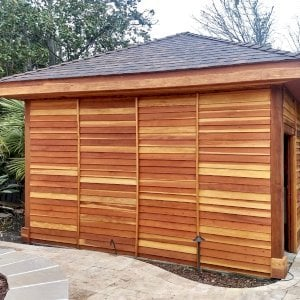 Custom The Loreto Pavilion (Options: 16' L x 12' W, California Redwood, Post Anchor Kit for Gale-Wind, Transparent Premium Sealant, Enclosed by Custom Request). Photo Courtesy of Jeanie Chong of Los Altos, California.
