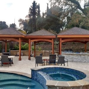 The Loreto Pavilions (Options: 14' x 14' & 12' x 12' Sizes, California Redwood, Transparent Premium Sealant). Photo Courtesy of Jeanie Chong of Los Altos, California.