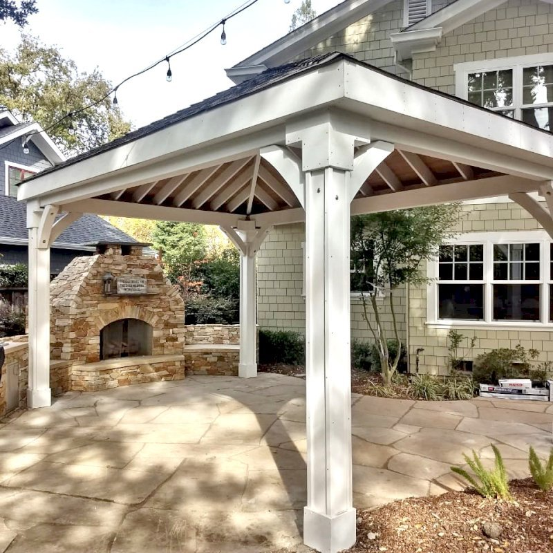 Custom The Loreto Pavilion (Options: 22' L x 14' W, No Privacy Panels, Douglas-fir, 10' H, 2 Electrical Wiring Trims, 4-Post Anchor Kit for Concrete, Vertical Post Decorative Trims, No Ceiling Fan Base, No Curtain Rods, Off-White Oil-Based Primer -  Customer Requested Internal Tongue & Groove Ceiling Left in Natural Wood Finish). Photo Courtesy of S. Olson of Danville, California.
