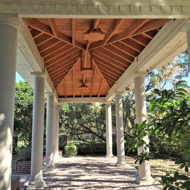 "Custom The Loreto Pavilion (Options: 32"" L x 12"" W, Douglas-Fir, 6-Post Kit for Hurricane, 10 ft Post Height, 3 Ceiling Fan Base, With Curtain Rods, Decorative Columns Provided by Client [ from Pacific Columns], Added 2 Coats of Off White Oil Based Primer to All the Timbers But Not to the Interior Ceiling)."
